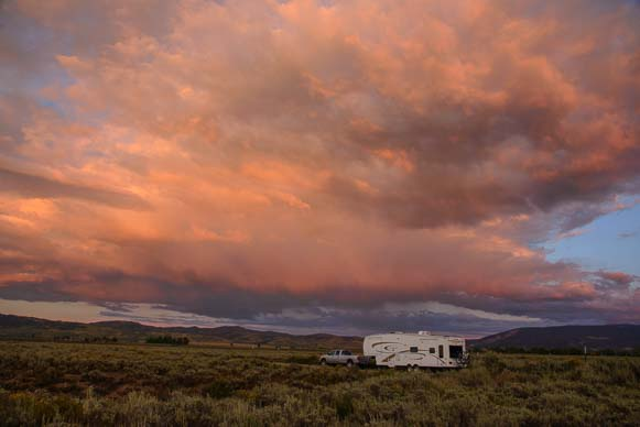 Stormy sunrise over an RV