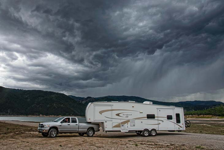 Storm clouds swirl above our RV