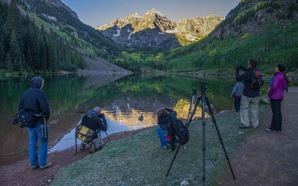 Photographers at Maroon Bells National Recreation Area Colorado