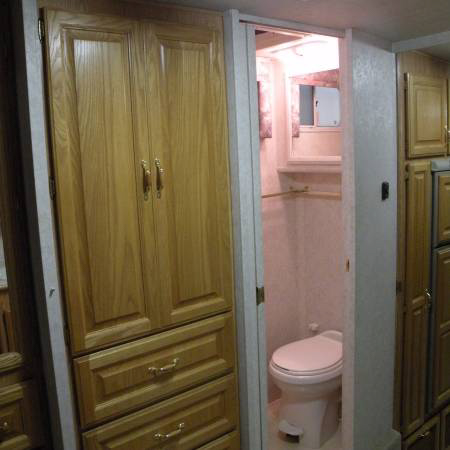 Fifth wheel trailer cabinets, drawers and toilet room
