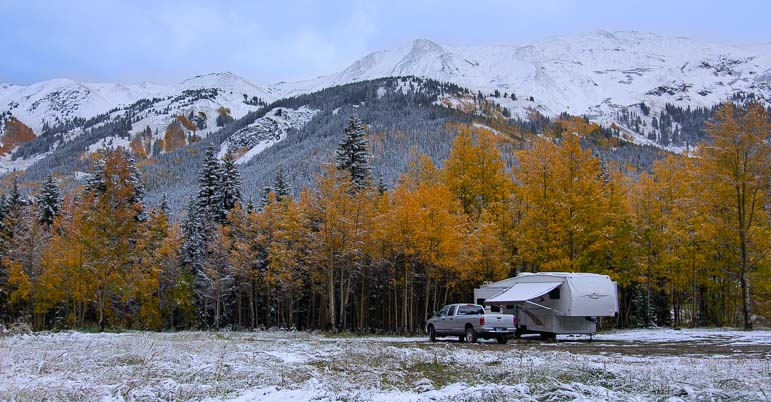 Fifth wheel trailer in the snow in the San Juan Mountains of Colorado