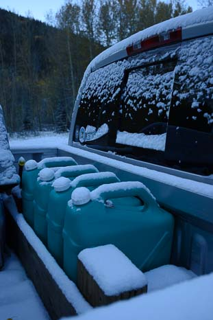 Back of the truck with snow