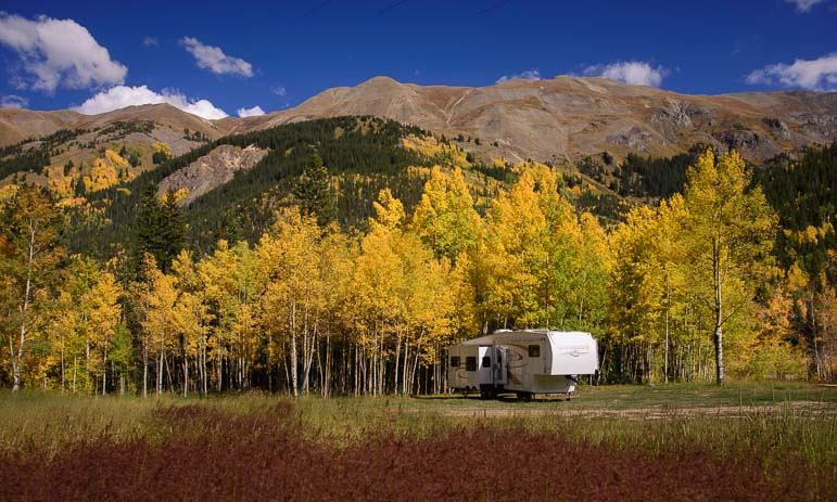Fifth wheel RV Ridgway Colorado fall foliage