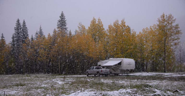 5th wheel RV Ridgway Colorado snow storm