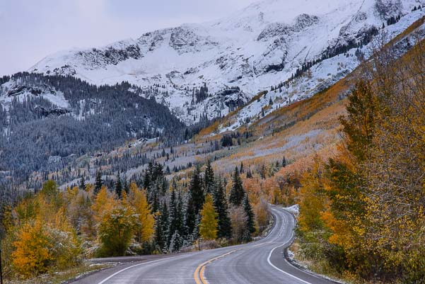 Million Dollar Highway Route 550 with snow Colorado