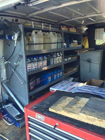 Interior of a mobile oil change van