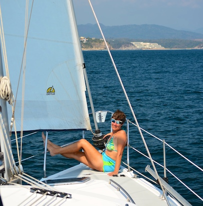 On the deck of our Hunter 44DS sailboat