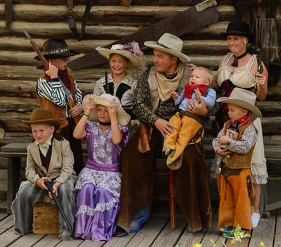 Family readies for western photo shoot