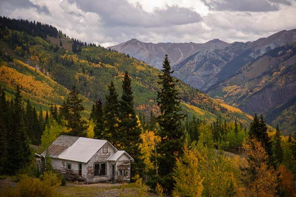 Old mining houses on the Million Dollar Highway Colorado