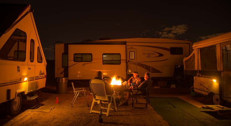Circling the wagons with RVs around a campfire
