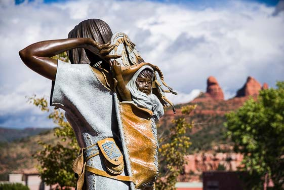 Bronze sculpture of Indian Sacajawea with her baby in Sedona AZ