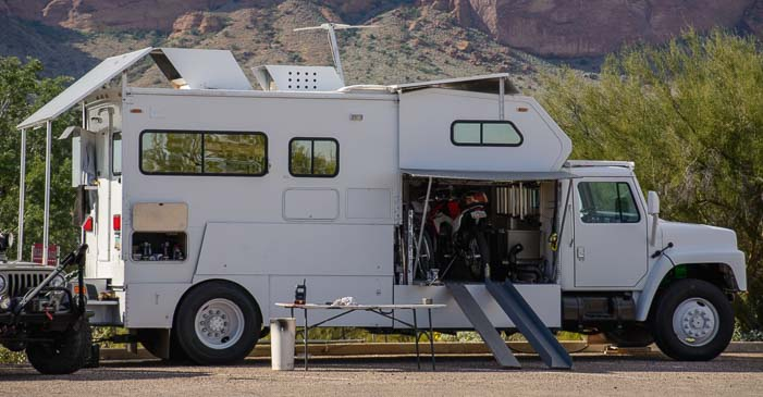 Truck and camper converted into an RV