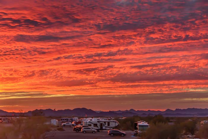 Quartzsite Arizona RV sunset