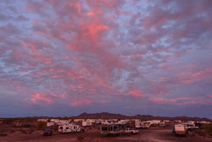 Sunset over RVs in Quartzsite Arizona