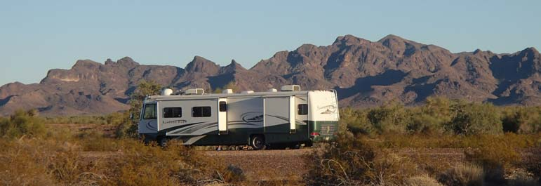 Motorhome camped in the Arizona desert