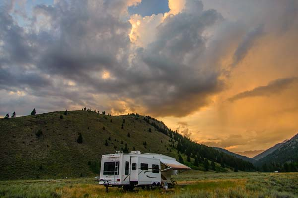 RV boondocking camping in a trailer in Idaho