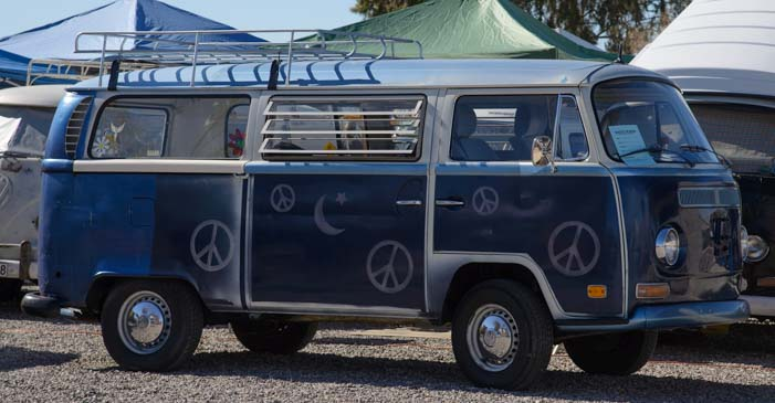 Peace signs and moons VW Microbus