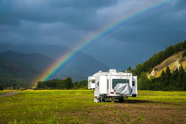Camping under a rainbow in Wyoming