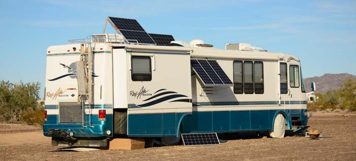 Motorhome with solar panels