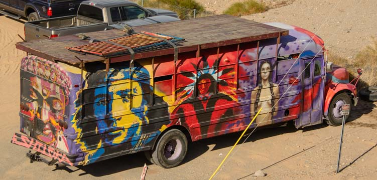 Crazy painted bus