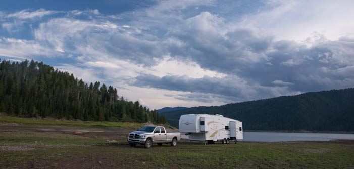 Free camping with a fifth wheel trailer in Wyoming