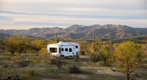 Fifth wheel trailer RV boondocking in Arizona