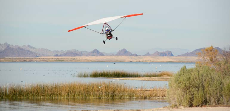 An ultralight takes flight at Lake Havasu State Park Arizona