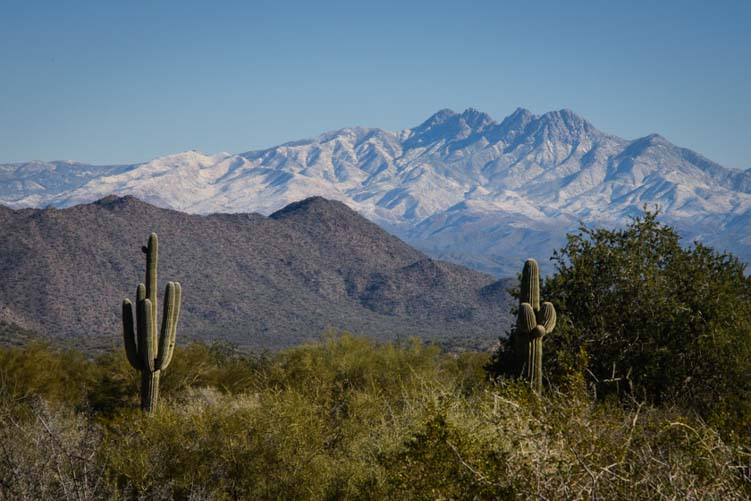 Four Peaks Mountains in Arizona with snow