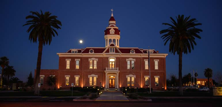 Florence Arizona Courthouse with full moon