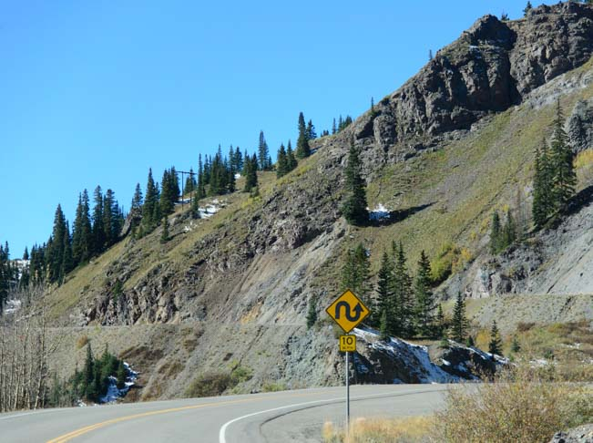 Steep 10 mph switchback on Red Mountain Pass on Route 550 the Million Dollar Highway between Ouray and Silverton Colorado
