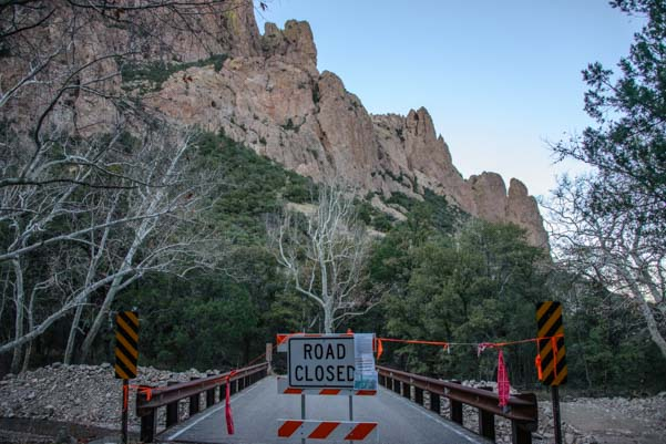 Road Closed sign leading to Sunny Flat Campground Chiricahua Mountains Arizona