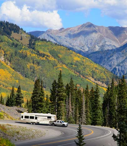 Fifth wheel trailer in the Colorado Rocky mountains_