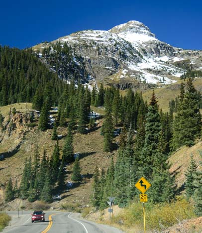 20 mph grade on the Million Dollar Highway in Colorado's Rock Mountains