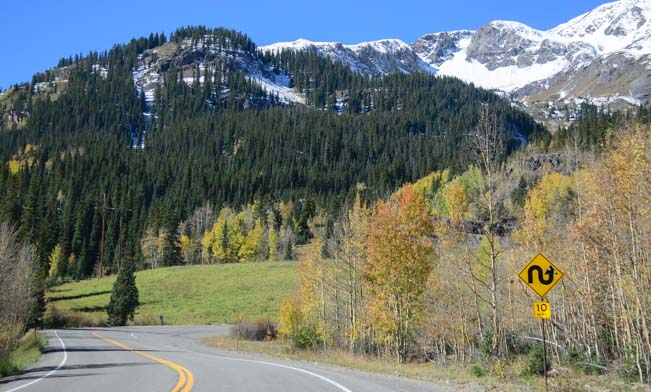10 mph grade on steep Red Mountain Pass switchback on Route 550 the Million Dollar Highway in Colorado
