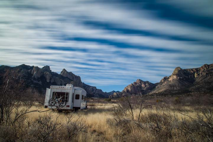 Striped skies over RV in Arizona