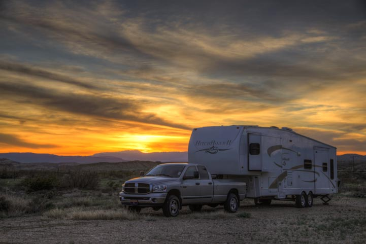 RV at sunset in Texas outside Big Bend National Park