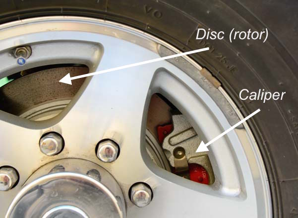 Trailer hydraulic disc brake and caliper installed on an RV wheel