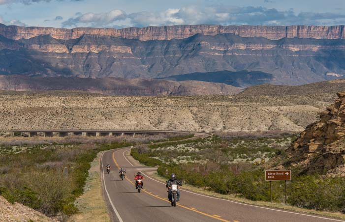 Big Bend National Park and Sierra del Carmen mountains in Texas with motorcycles