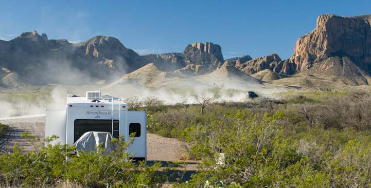Dust on the road camping in Big Bend Texas