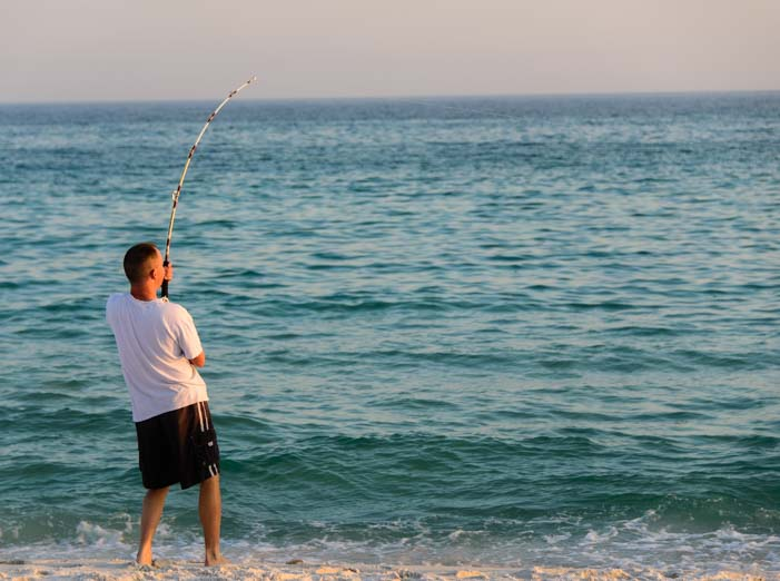 Fishing on a Gulf of Mexico beach in Florida