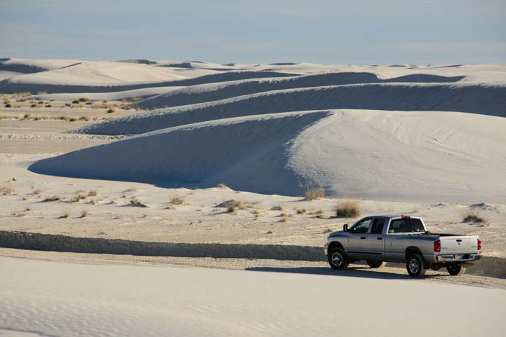 Dodge RAM 3500 truck in White Sands National Monument New Mexico