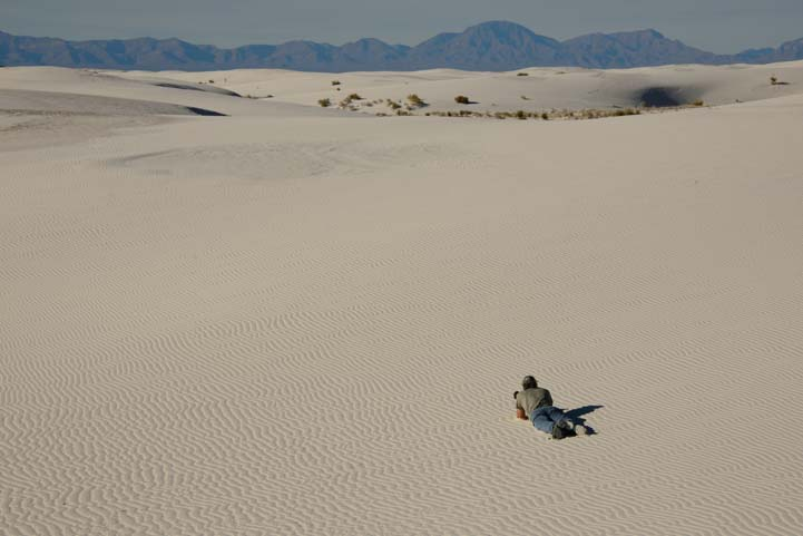 Getting down for a low shot of White Sands National Monument New Mexico