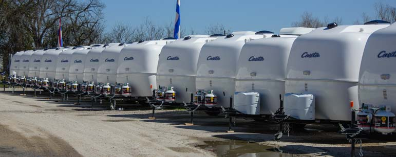Casita Travel Trailers lined up at the factory