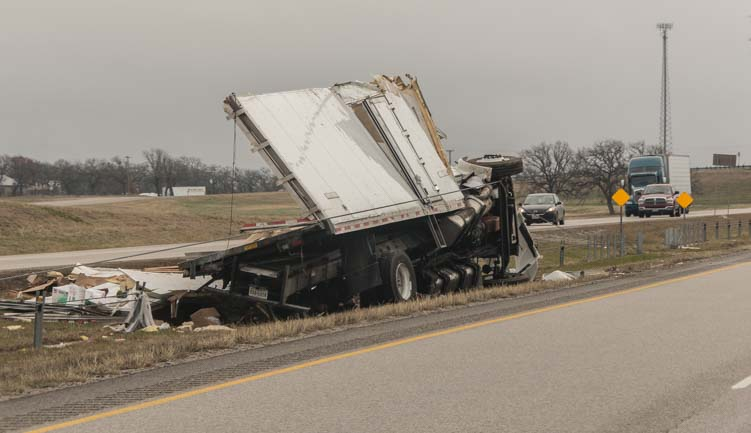 Semi tractor trailer truck stranded on I-20 after Texas ice storm