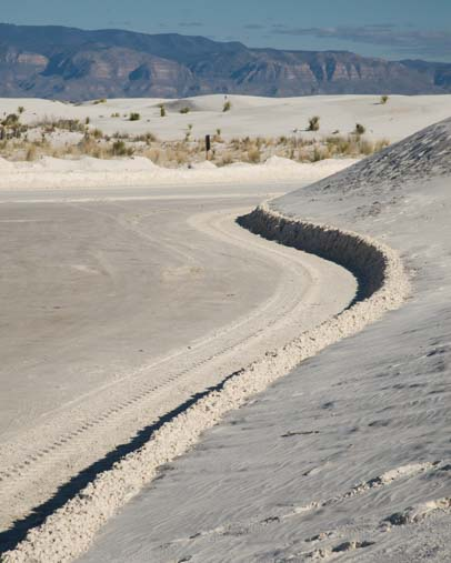 Plowed roads at White Sands National Monument in New Mexico