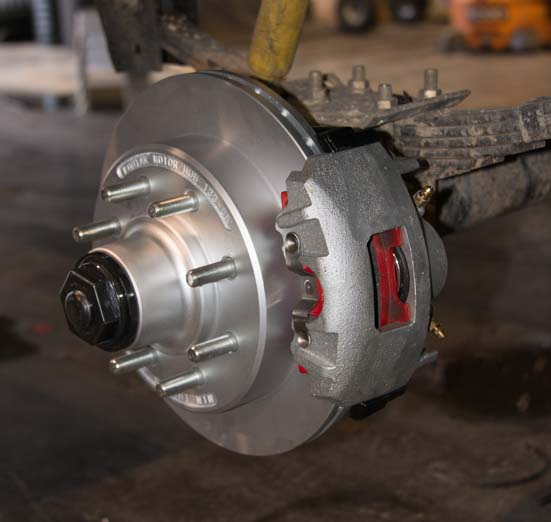 Kodiak dIsc brake rotor and caliper assembly for RV electric over hydraulic disc brakes