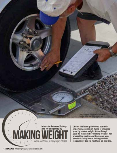 Maintain Personal Safety and RV Logevity by Making Weight