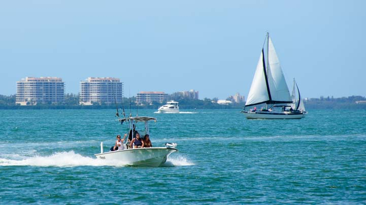 Boats seen from Centennial Park Sarasota Florida