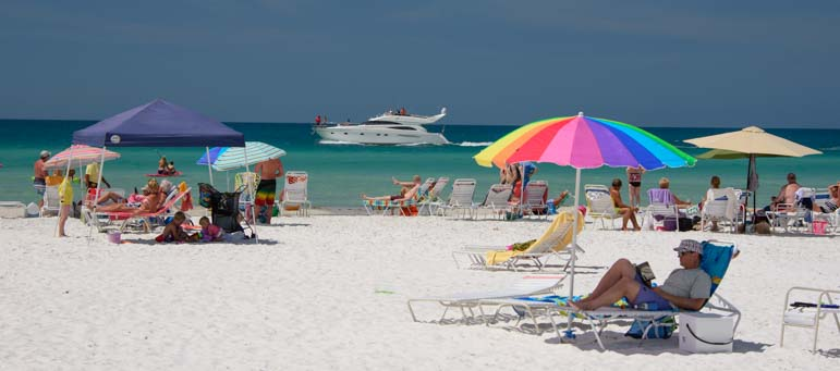 Beach umbrellas Siesta Beach Sarasota Florida