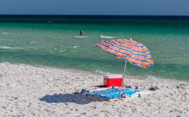Colorful umbrella on Florida beach